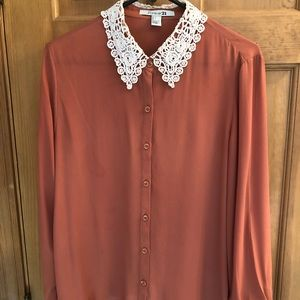 Burnt Orange Button-Up with Lace Collar